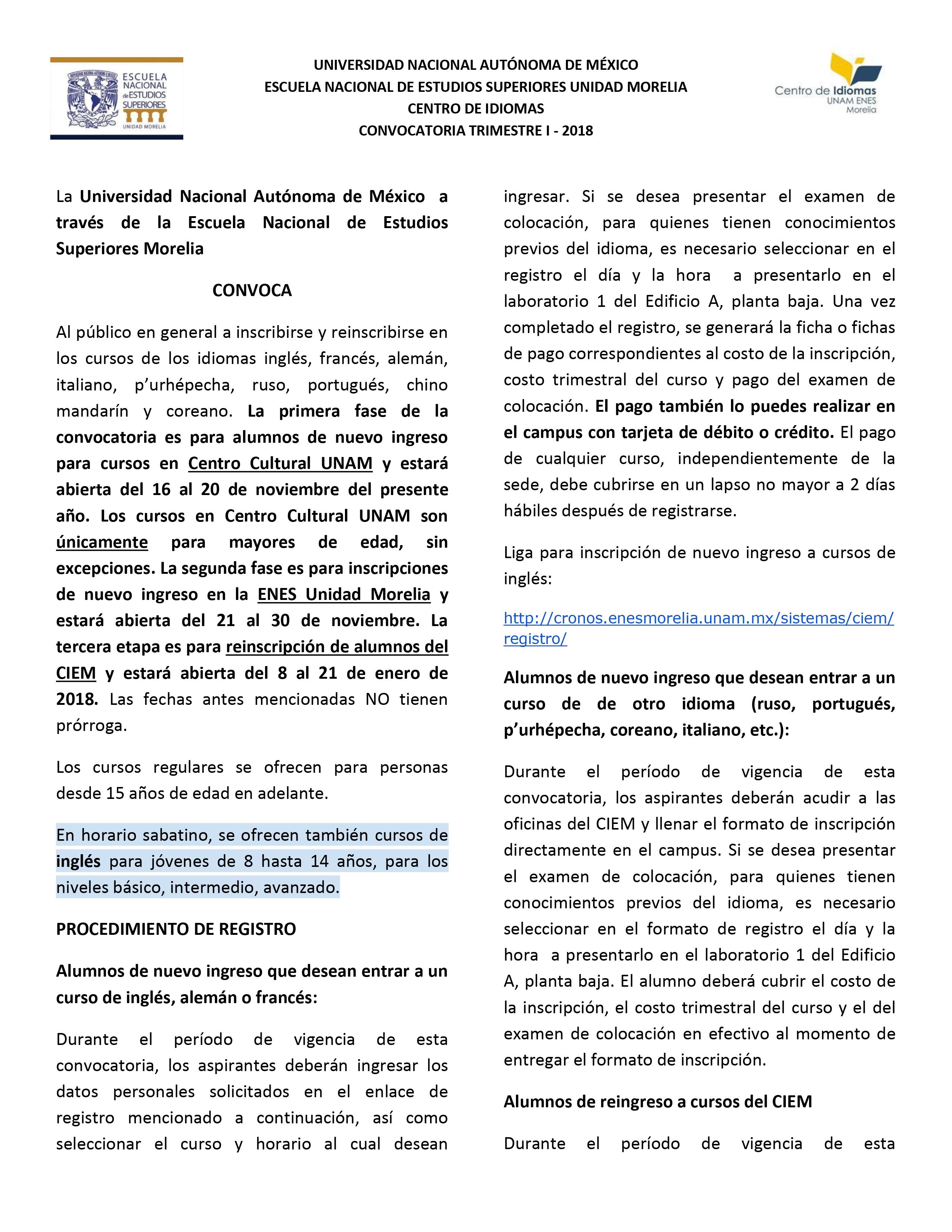 Convocatoria TrimestreI 2018-1
