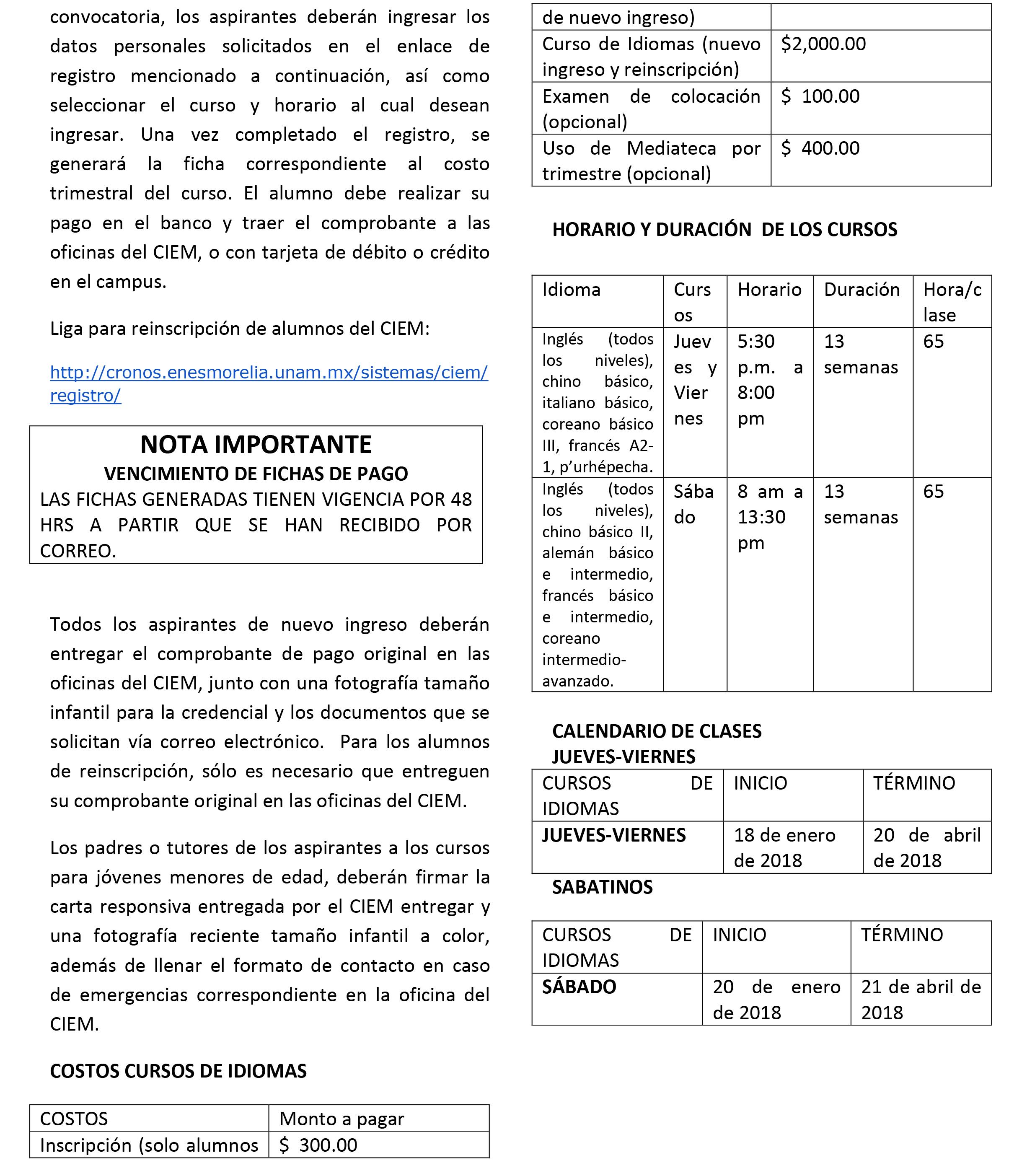 Convocatoria TrimestreI 2018-2