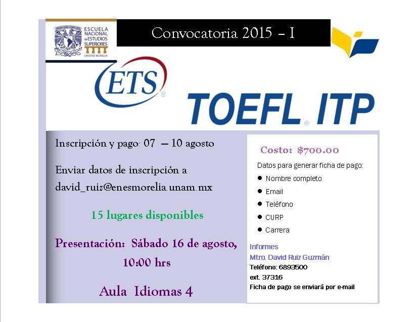 Convocatoria TOEFL 2015-1