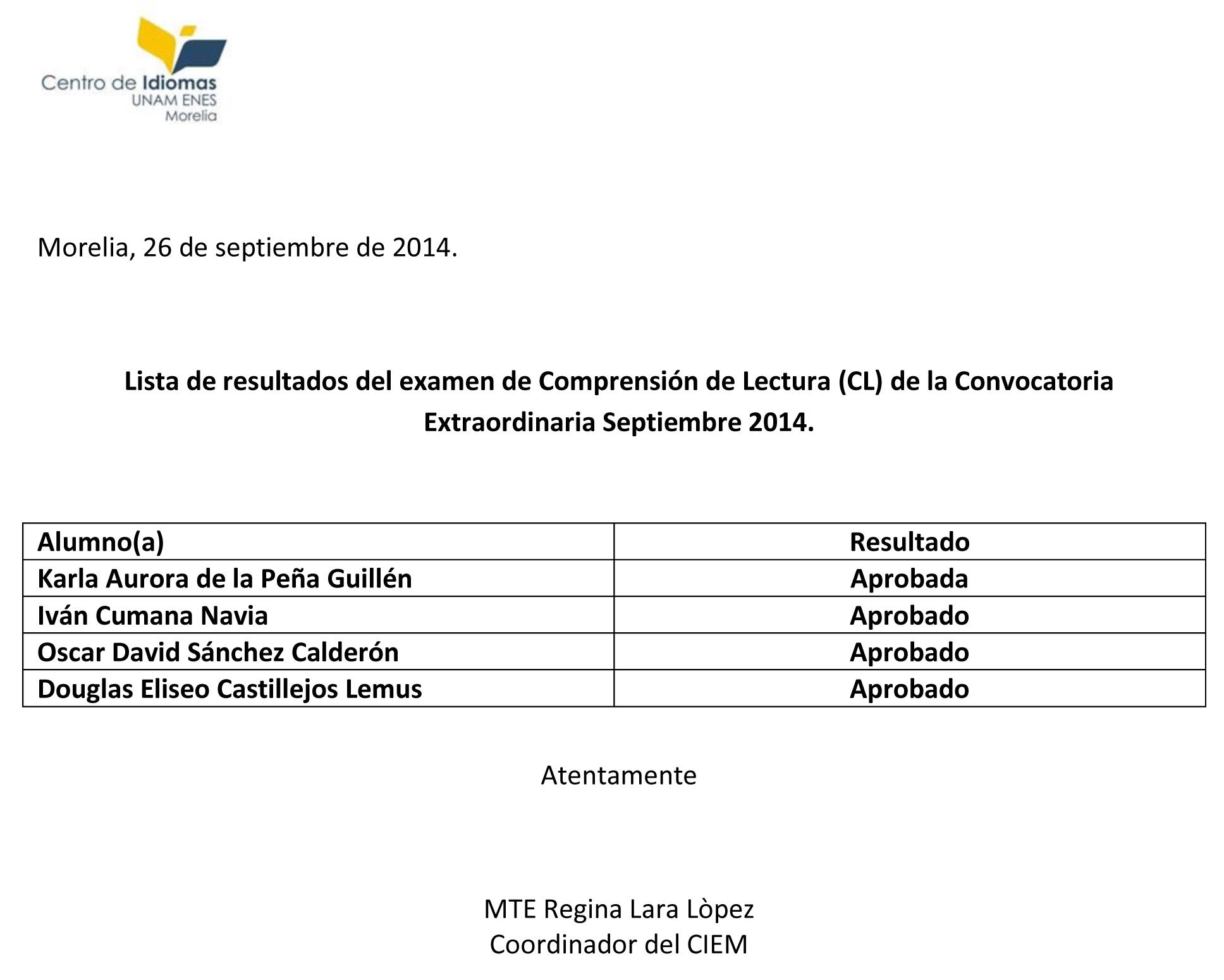 Resultados Examen Sept 2014