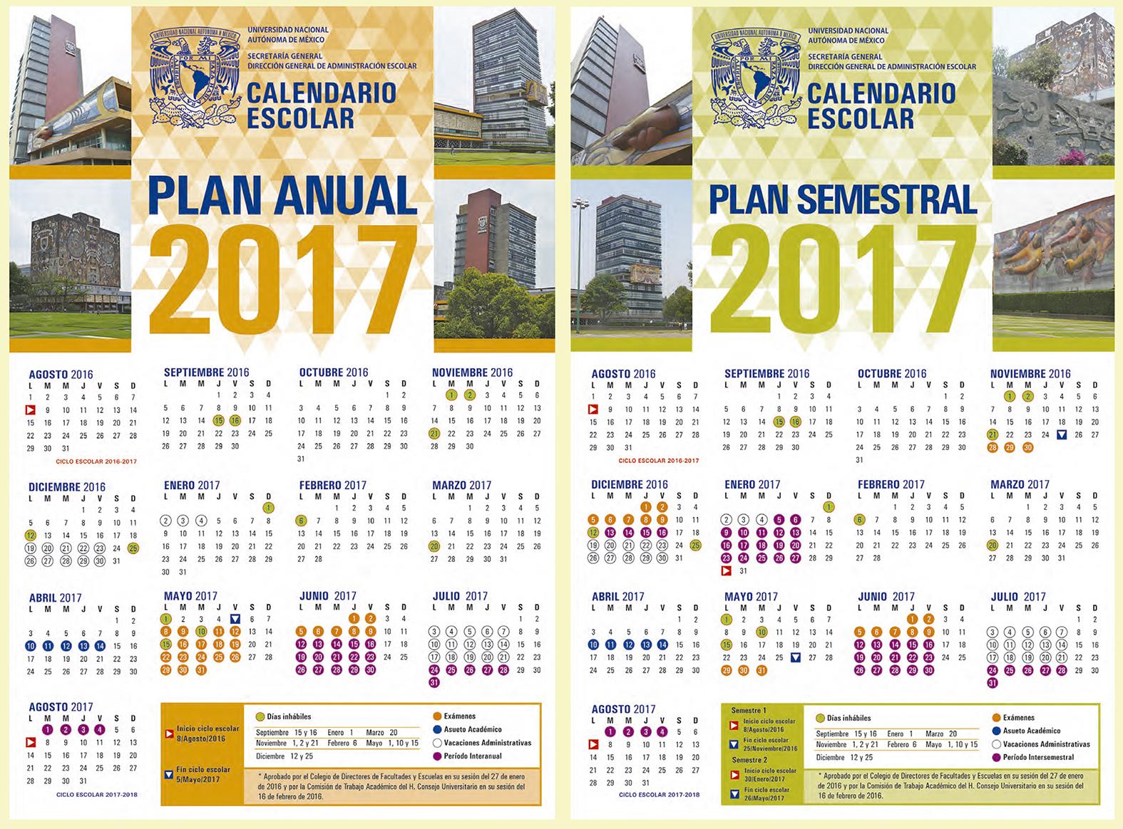 Conoce y descarga los calendarios escolares de la UNAM