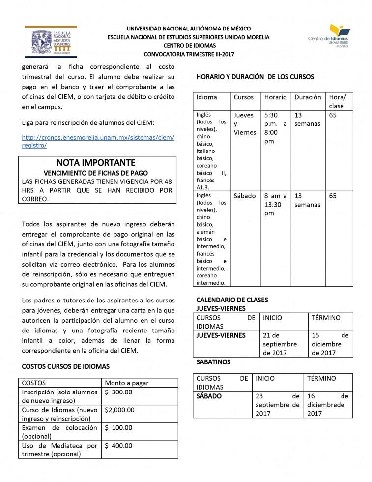 Convocatoria Trimestre III 2017-2