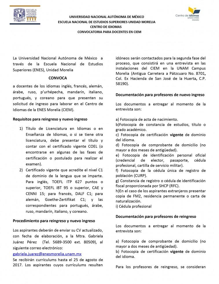 Convocatoria profesores CIEM Trim III 2017-1