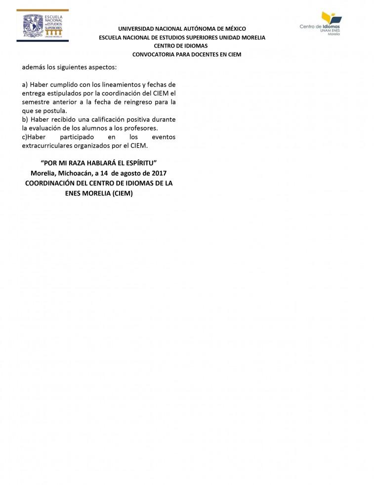 Convocatoria profesores CIEM Trim III 2017-2