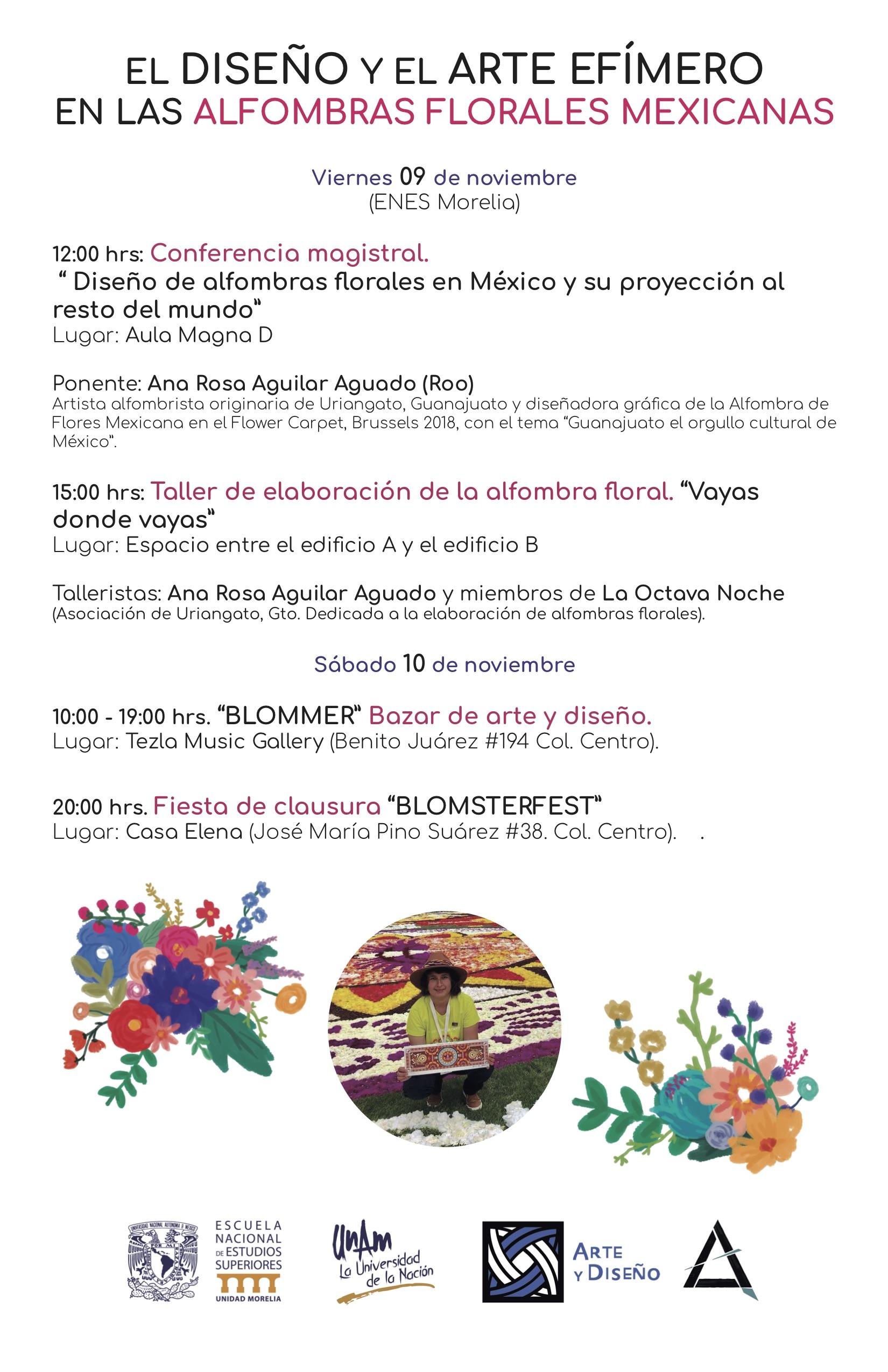 Cartel general actividades ALFOMBRAS FLORALES UNAM