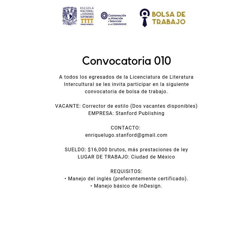 Convocatoria 010. Lit Inter