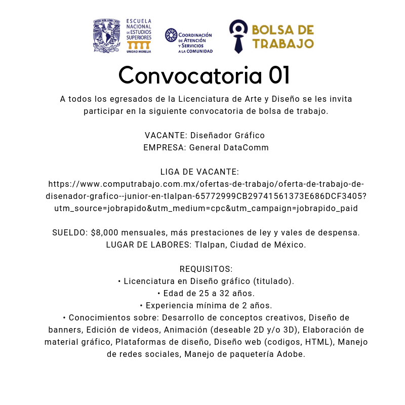 Convocatoria. 01.2019. Art y Dis