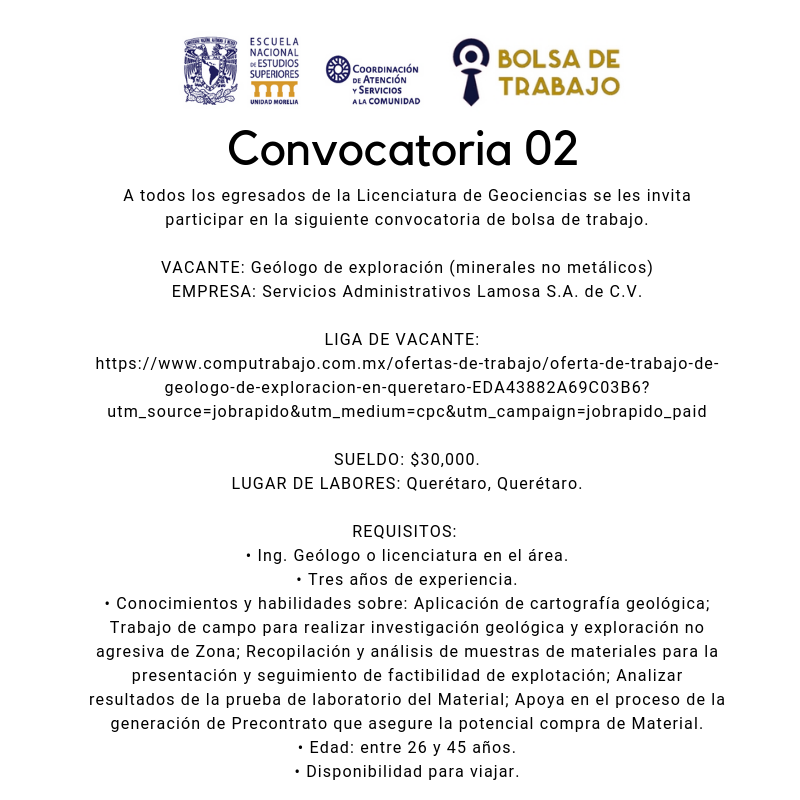 Convocatoria. 02.2019. Geoci