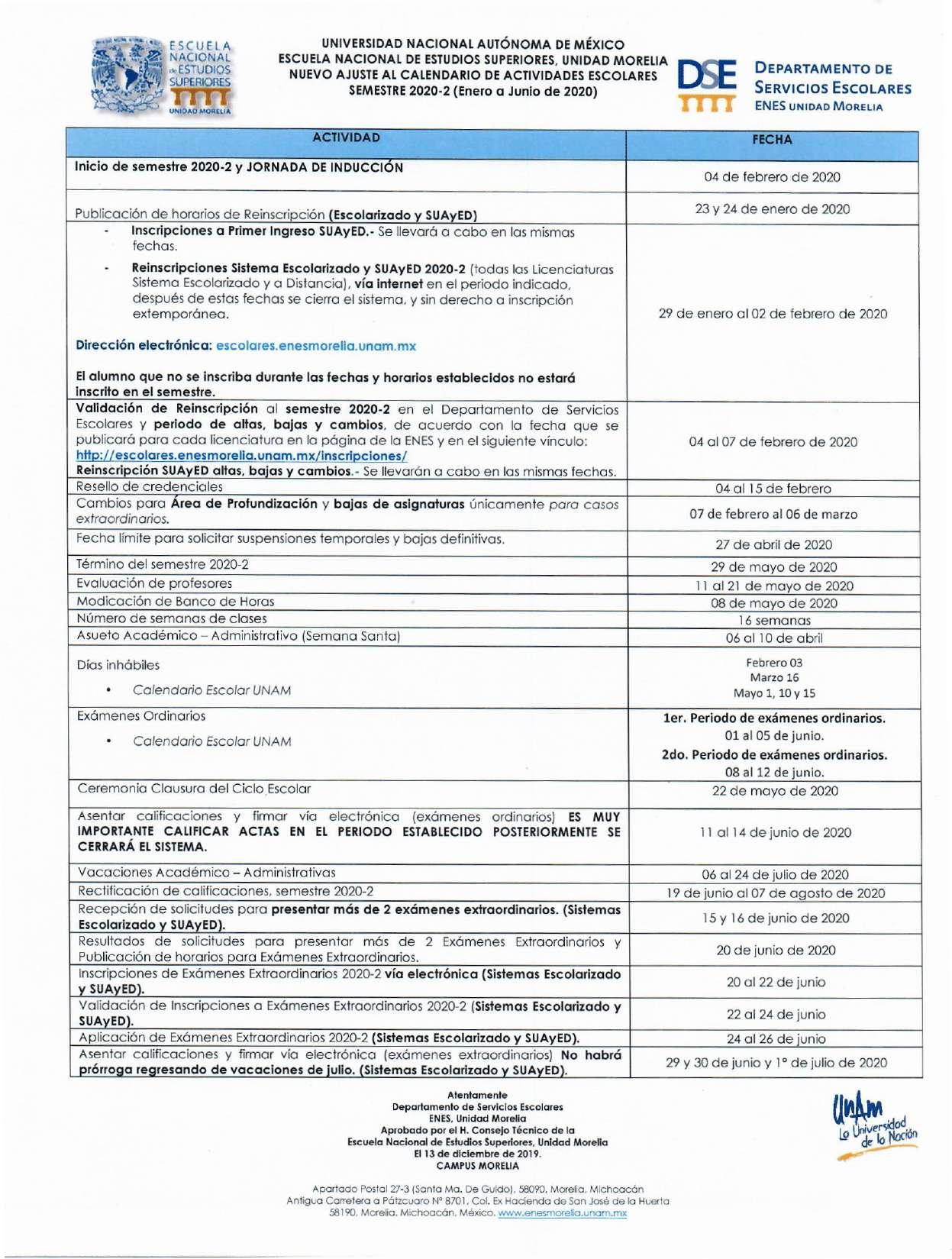 Adecuación Calendario 2020-2